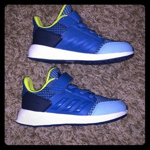 ADIDAS KIDS SHOES Sz 9K - royal blue and lime grn